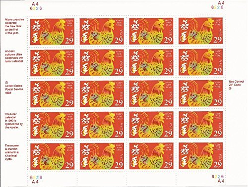 Year of the Rooster: Lunar New Year, Full Sheet of 20 x 29-Cent Postage Stamps, USA 1992, Scott 2720