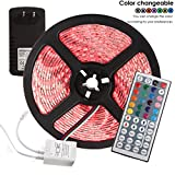 INIEIWO 16.4 Ft SMD 5050 RGB 300 LED Color Changing Kit with Flexible LED Strip Light+ Led Indicator+44key Remote Control+ Power Supply (RGB, 5050 Non-Waterproof)