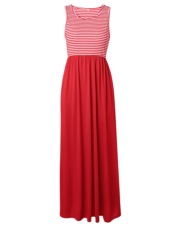 Tr/ès Chic Mailanda Sommerkleid Damen Partykleid Lang Chiffon High Waist Striped Sleeveless Beach Kleid Elegant