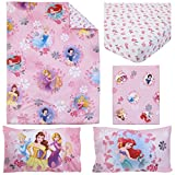 TL 4 Piece Kids Girls Pink Pretty Princess Toddler Bed Set, Yellow Teal Disney Princesses Bedding Floral Motif Comforter Flowers Daisy Flower Themed Sheets Bedroom Children, Polyester