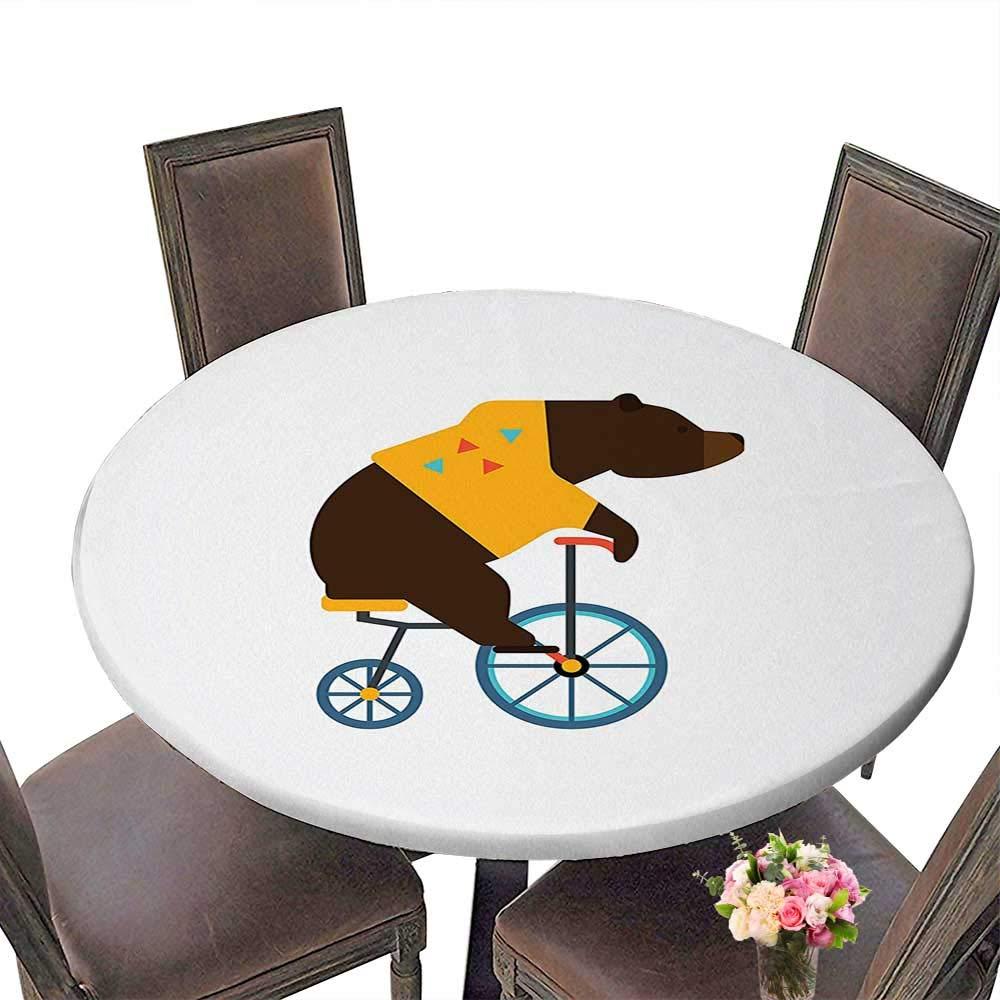 Cheery-Home ラウンドテーブルクロス (エッジはゴム) あらゆる機会に適しています (29.5インチラウンド) 自転車装飾 グランジ風 デジタル 水彩 テクスチャ 自転車 オーキッド ロマンティック 車両 フィギュア ピンクブルー (92