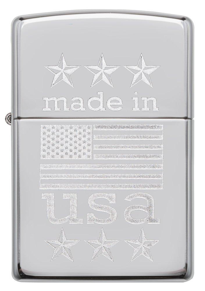 Zippo Made in USA with Flag Pocket Lighter, High Polish Chrome by Zippo (Image #2)