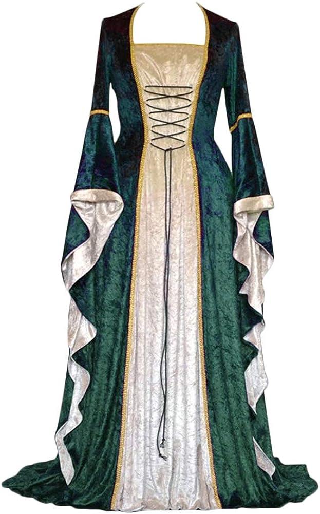 ZhuiKunA Donna Vintage Rinascimentale Medievale Abito,Manica Lunga Fancy Cosplay Vestito