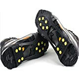 Veewon® 1 Pair Ice Traction Universal Black Over Shoe Studded Snow Grips Ice Spikes Anti Slip Snow Crampons Cleats