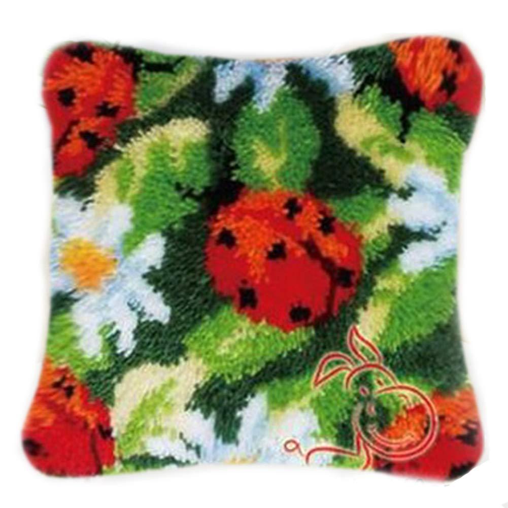 DIY Cushion Carpet Mat Latch Hook Rug Kits Cover Hand Craft Embroidery Pillowcase Crocheting Flower Handmade Wedding Kids Parents Gift 16x16 Inch