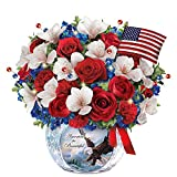 Patriotic Always in Bloom Floral Centerpiece with Larry K Martin Art: Lights Up by The Bradford Exchange