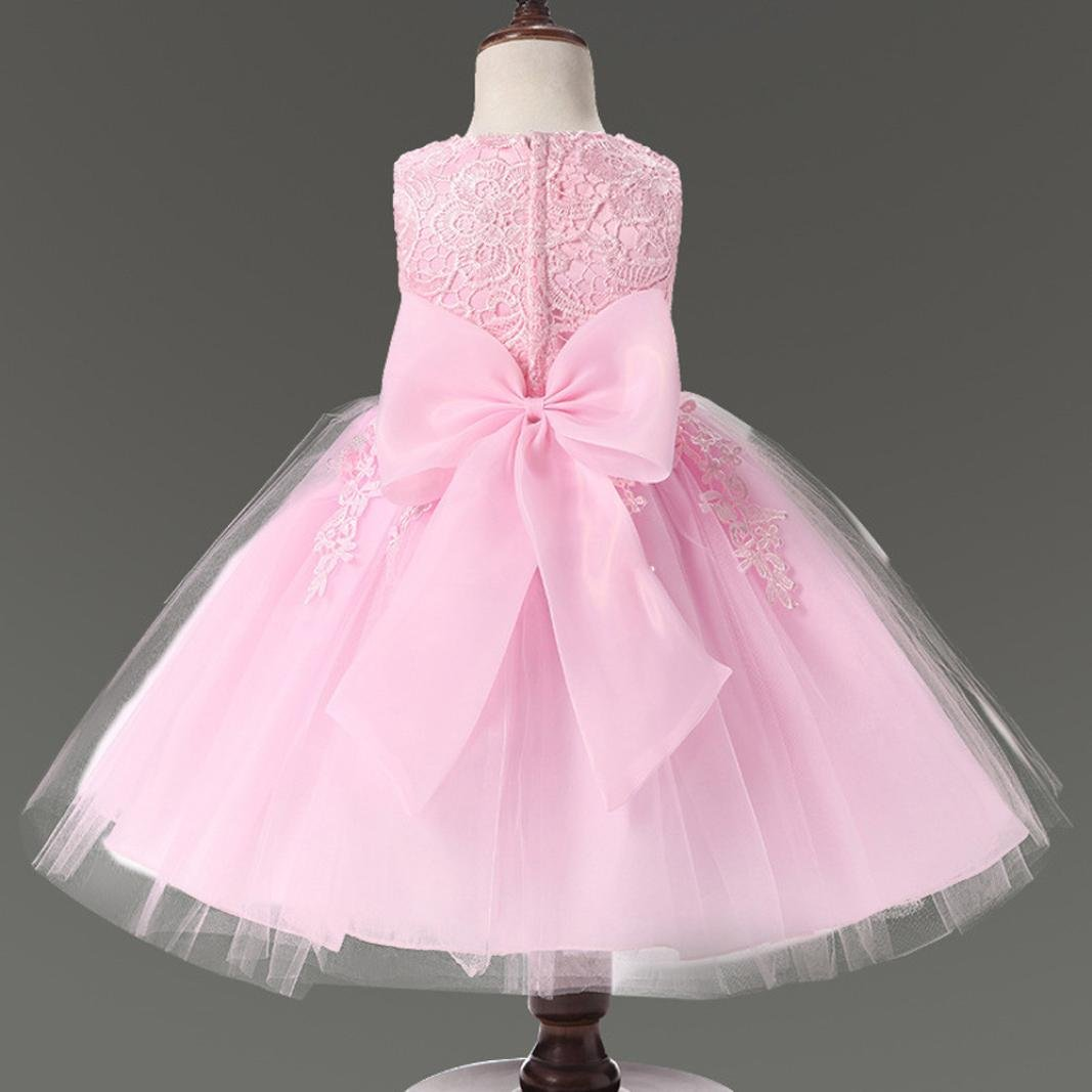 Brezeh Kids Girl Princess Dress Formal Pageant Wedding Bridesmaid Lace Sleeveless Dress Baby Girls Ball Gown Party Dress With Bowknot: Amazon.co.uk: Sports ...