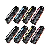 SPEEDY TONER Remanufactured Toner Cartridges Replacement for HP 125A for Laserjet CP1215, CP1515, CP1518, CM1312 Set of 8 (CMYK)