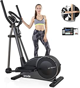 SNODE Magnetic Elliptical Machines for Home Use with Bluetooth APP - Low Impact Elliptical Cross Trainer Equipment with 32 Level Resistance,Pulse Tension, Intelligent Workout App, LCD Display