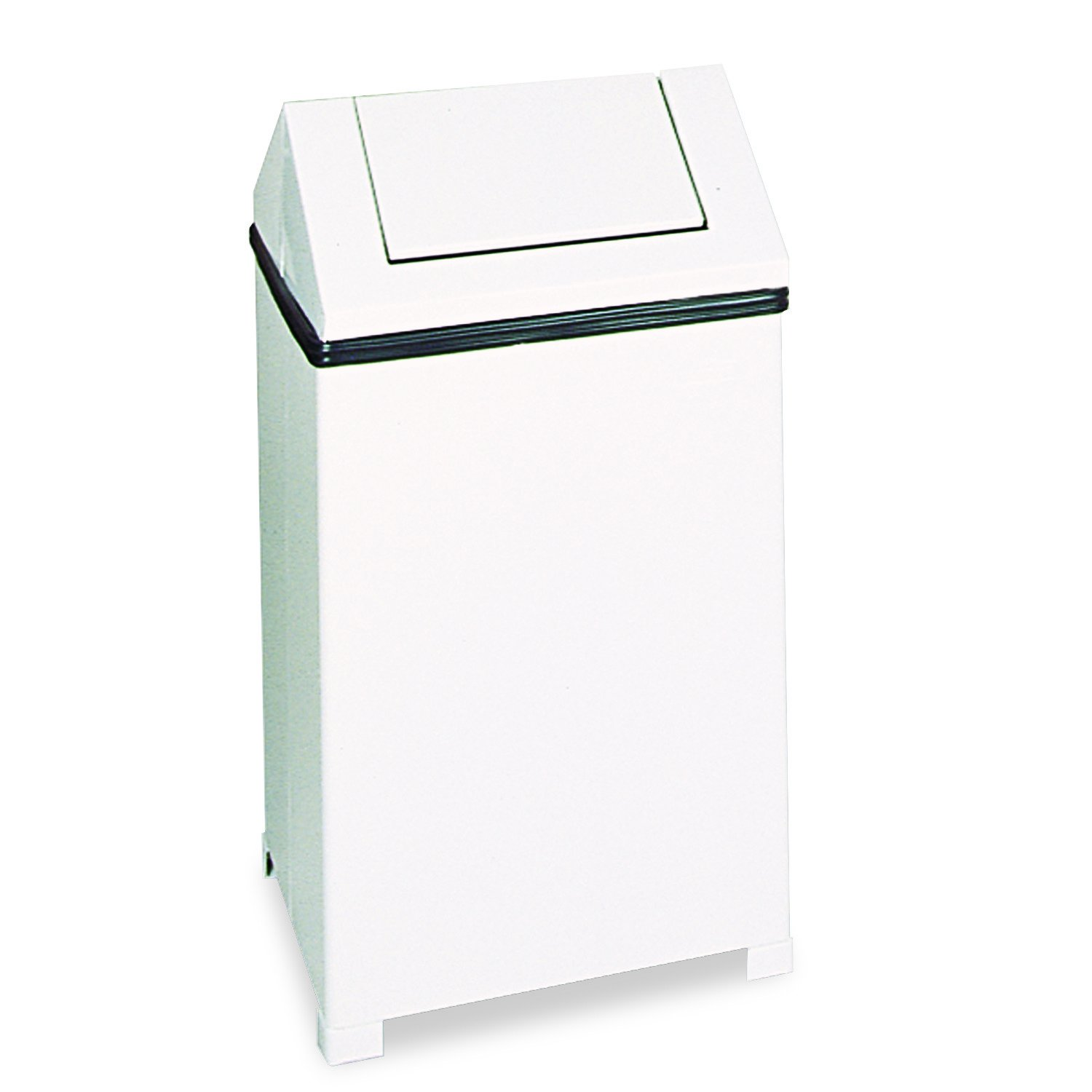 Rubbermaid T1940ERBWH Fire-Safe Swing Top Receptacle, Square, Steel, 40 Gal, White
