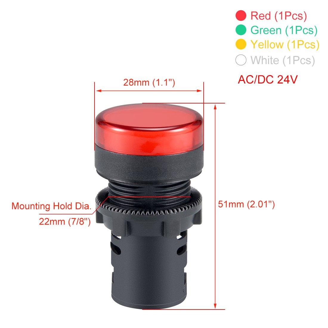 Red+Green+Yellow+White LED sourcing map 4Pcs AC//DC 24V Indicator Lights Flush Panel Mount 7//8 22mm