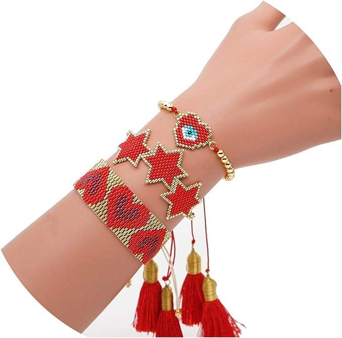 Amazon.com: Heart Bracelet Boho Women Turkish Eye Bracelet Red Set Star Jewelry Tassel Handmad, Mi-1: Clothing