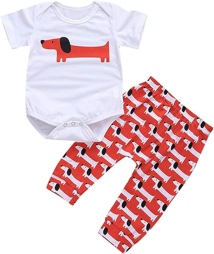 PAOLIAN Conjuntos para Bebe Niño Verano 2019 Recién Nacidos Monoss Camisetas Manga Corta y Pantalones Bebé Niñas Peleles Bodies Bautiz Perro 0-24 Meses
