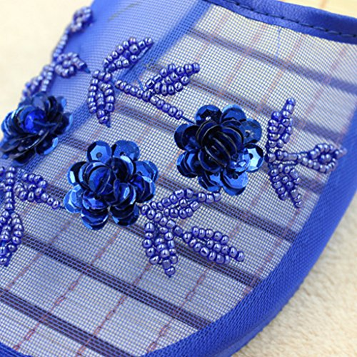 39 Blue infradito donne Nero royal Sequin blu abbellimento Dabixx 41 Royal floreale ciabatte mesh uomo aF7Ox4qw