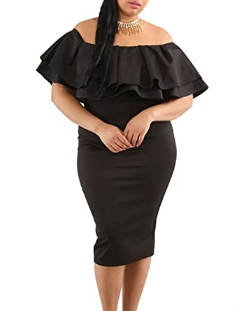fa9132584293 Gloria&Sarah Women's Off Shoulder Ruffle Floral Print Plus Size Bodycon  Party Dress ...