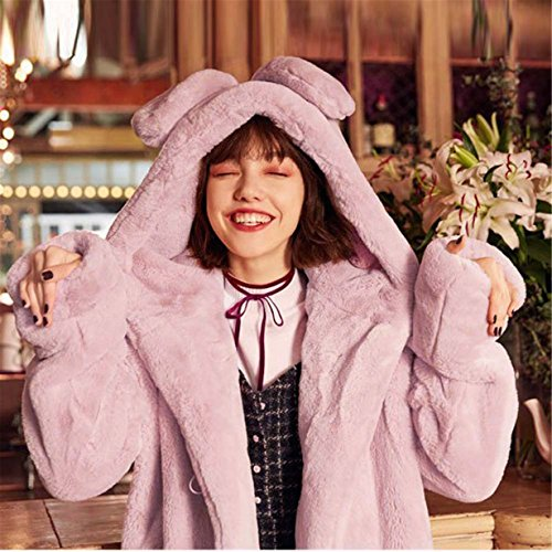 Longra Casual Rosa invierno de para sintética de Mujer de Abrigo capucha piel con Parka cálida Conejo chaqueta mujer BqSYAwxC