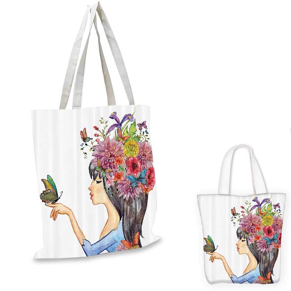 Watercolor Decor canvas messenger bag Hand Drawn Young Fashion Girl with Umbrella Walking in the Rain Artsy Image canvas beach bag Multi 12x15-10