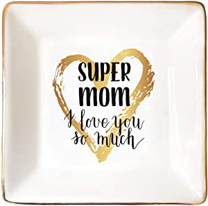 CNVOILA Jewelry Dish, Mother of Bride Gifts from Daughter Ring Dish, Mother's Day Ceramic Ring Dish Decorative Jewelry Tray(Gold and Black)