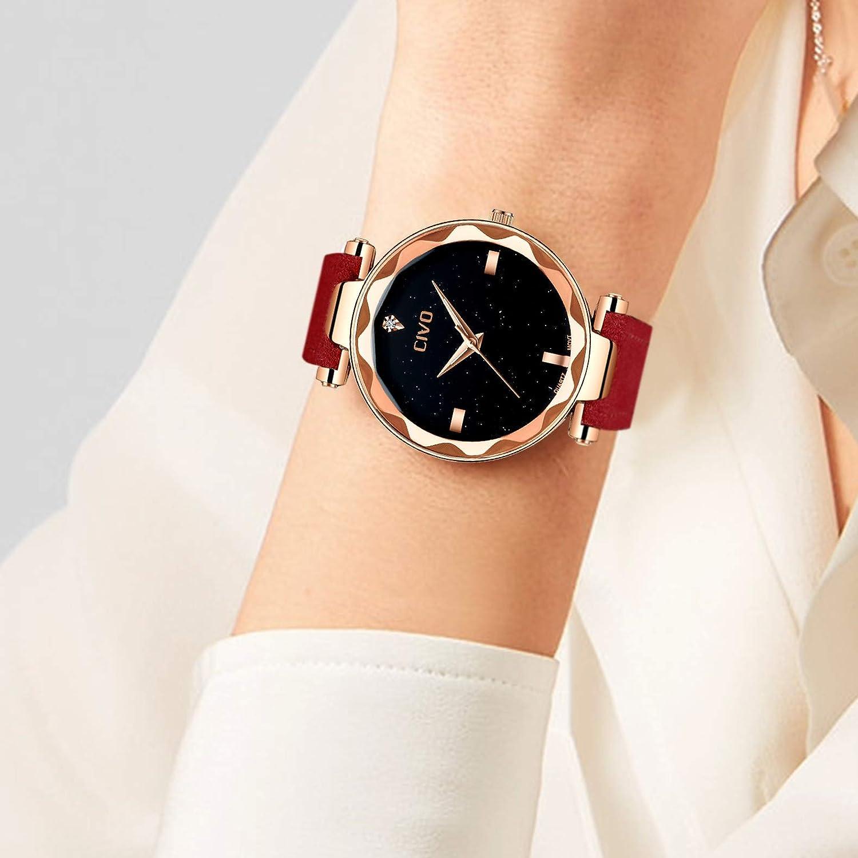 CIVO Relojes para Mujer Reloj Damas Señoras Lujo Impermeable Fino Reloj de Cuero Minimalista Moda Calendario Deportivo Casuales Clásico Negocios Relojes de ...