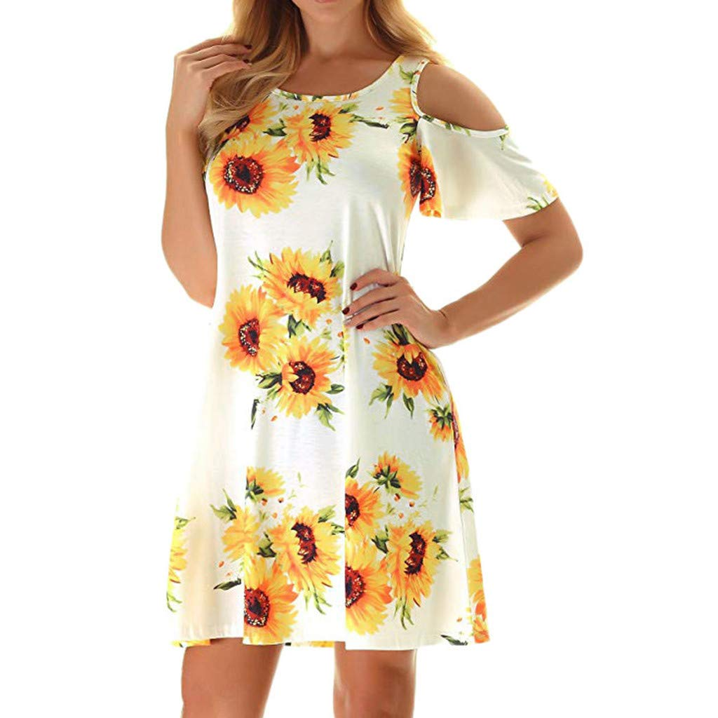 Seaintheson Women's Summer Dress, Casual Cold Shoulder Tunic Top Swing T-Shirt Loose Dresses Flower Print Mini Skirt White