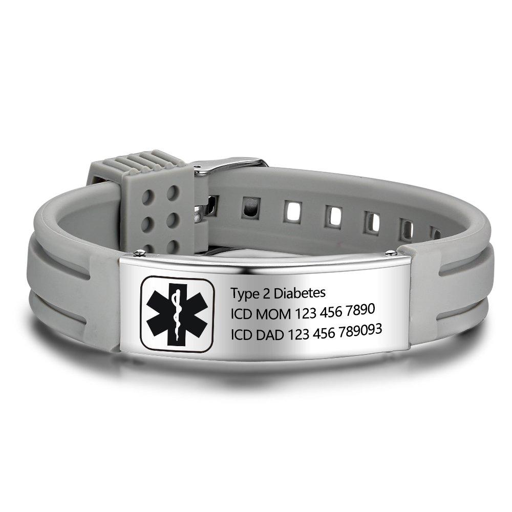 Lam Hub Fong Free Engrave 9 Inches Silicone Adjustable Medical Bracelets Emergency ID Bracelets For Men Women Kids Stainless Steel Rubber Alert Bracelets (Grey)