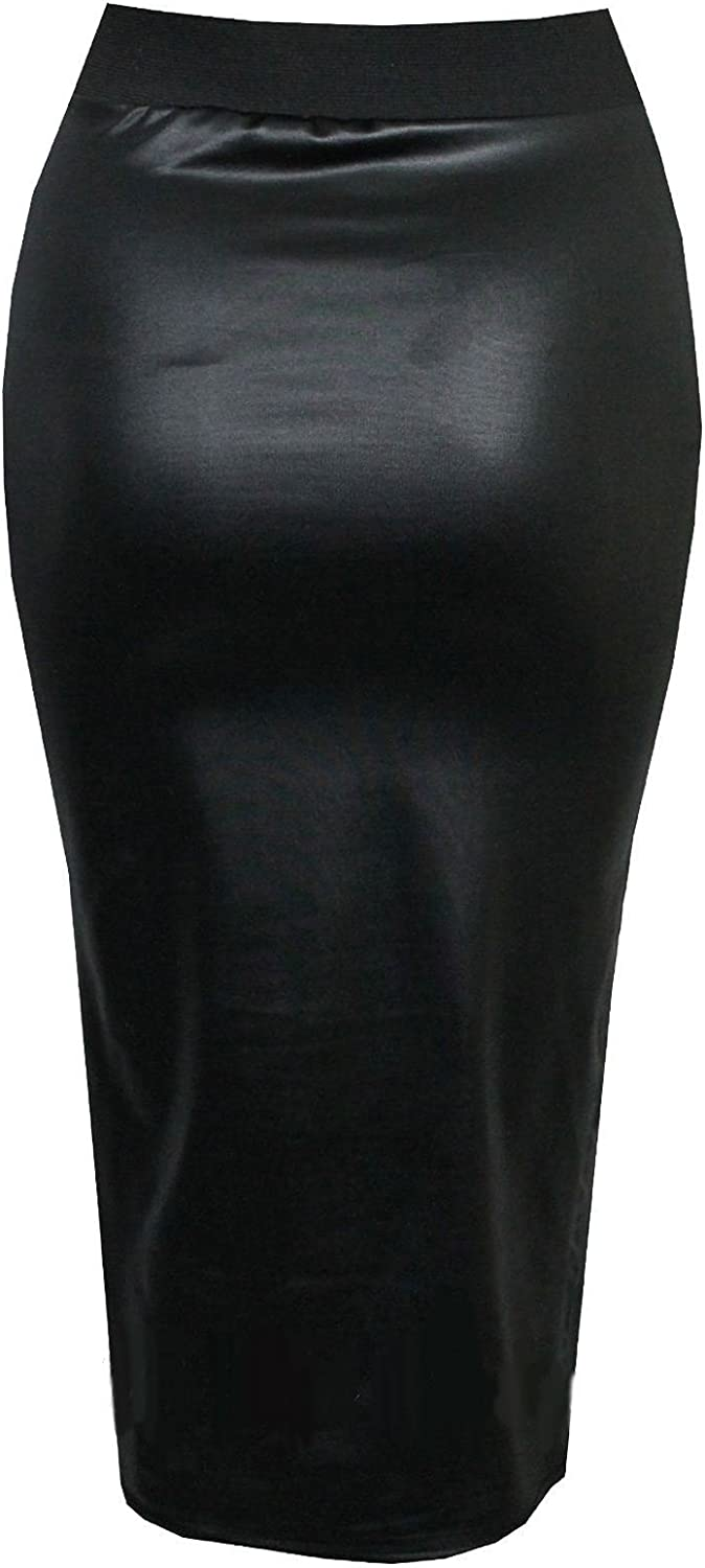 Size 6 8 10 12 Faux LEATHER SKATER SKIRT Womens PU WET LOOK A Line Black Skirt