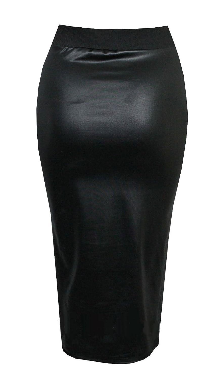 Purple Hanger Curvy PurpleHanger Women's Wet Look Pencil Wiggle Midi Skirt Plus Size