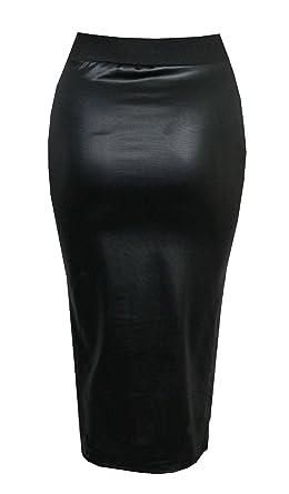 0c0bb6e1926210 Purple Hanger - Mini jupe courte pour femme simili cuir taille élastique  moulante extensible effet mouillé