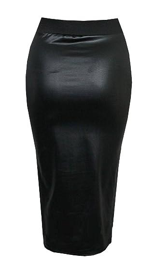 074ec3a4b Purple Hanger Curvy PurpleHanger Women's Wet Look Pencil Wiggle Midi Skirt  Plus Size at Amazon Women's Clothing store: