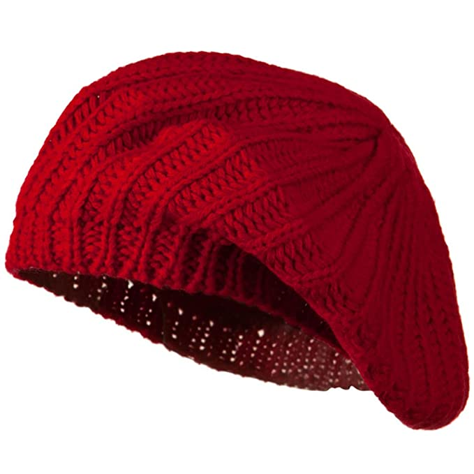 Plain Knit Beret - Red OSFM at Amazon Women s Clothing store ... 467847b1ac4