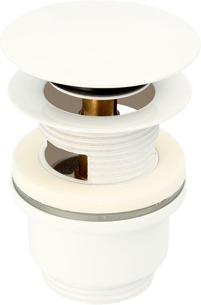 tecuro Click-Clack Ablaufgarnitur weiß mit Pushfunktion für Waschbecken ohne Übe