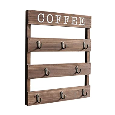 Emaison Coffee Mug Holder, Wall Mounted Rustic Wood Cup Organizer with 8 Hooks for Home, Kitchen Display Storage and Collection(Brown,15 x 2.5 X17.7 inch)