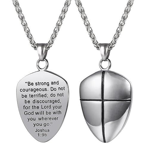 Amazon u7 shield of faith pendant chain 22 inch stainless steel u7 shield of faith pendant chain 22 inch stainless steel joshua 19 cross amulet aloadofball Images