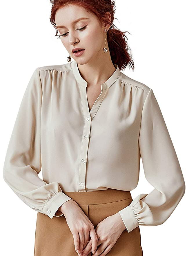 Roeyshouse Women's Cream Colored Long Sleeve Button Up Shirt Office Chic Work Blouse by Roeyshouse