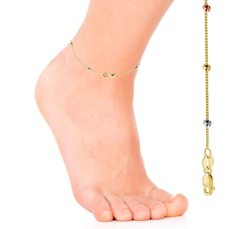 Ritastephens 14k Yellow Gold Box Diamond-cut Bead Anklet 10 Inches