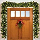 BrylaneHome Cordless Battery-Operated Led 6' Pine Garland (Green,0)