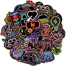 Waterproof Vinyl Stickers for Laptops Car Decals Party Supplies Decor (50Pcs Neon Style)