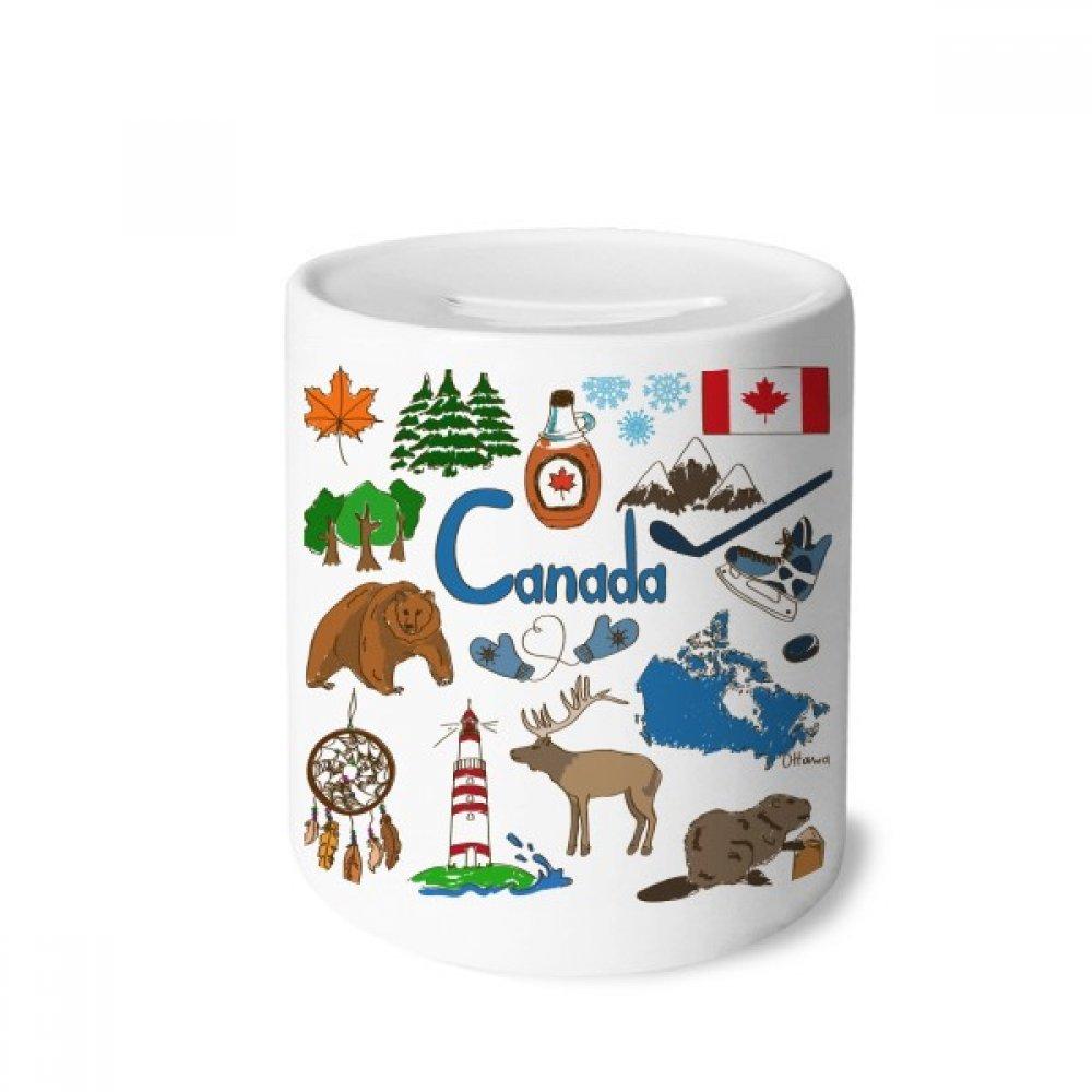 DIYthinker Canada landscap Animaux Drapeau National Tirelire en céramique banques d'épargne-Monnaie Enfants Adultes 3,5 Pouces de Hauteur, 3,1 Pouces de diamètre Multicolore 1 Pouces de diamètre Multicolore DIYlab