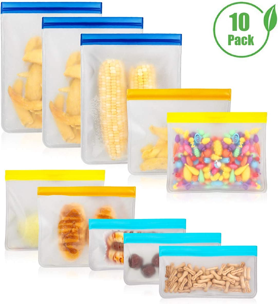 10 Pack Reusable Food Storage Bags, PEVA Leakproof Ziplock Lunch Bags for Home, Picnic, Travel, Make-up, BPA Free and Eco-friendly (3 Freezer Bags + 4 Sandwich Bags + 3 Snack Bags)
