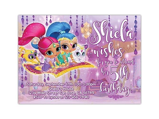 Amazon Shimmer And Shine Birthday Party Invitations ANY AGE
