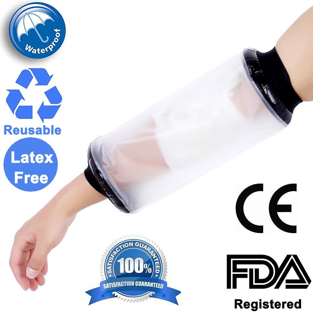 FDA Registered Medical Grade PICC Line Cover Waterproof Cast Protector for Bath Shower Injured Arm Covers Protector Wound Cover for Shower Adult Elbow Sleeve Arm Cover Bandage and Dressing Protector