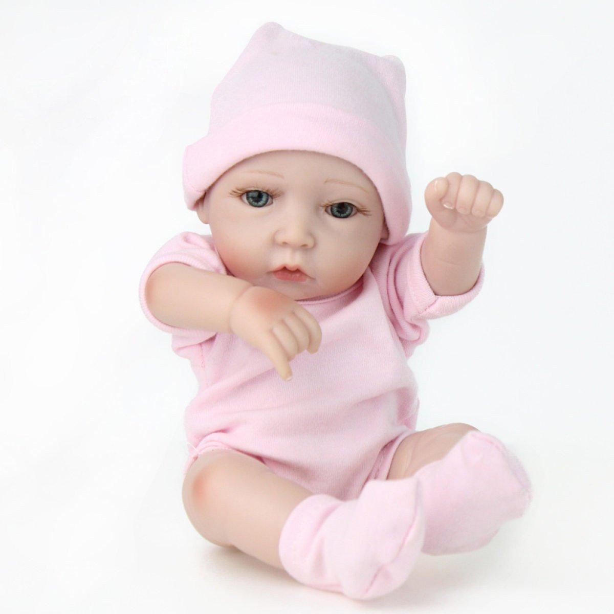 Silikon-Vinyl Reborn Babypuppen Handgemachte Lebensechte Realistische Baby Puppe Weißhe Simulation 11 Zoll 28 Cm Augen Offen Mädchen Lieblingsgeschenk Kann Ein Bad Nehmen
