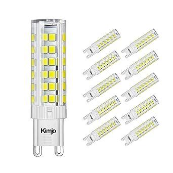 10 x G9 LED Bombillas, Kimjo 7W Lámpara Equivalente a 60W Lampara Halogenos, Blanco