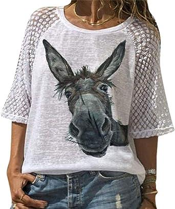Camiseta Holgada de Cuello Redondo para Mujer Camisa ...