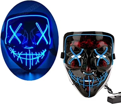2 Pcs Halloween EL Wire Horror Mask LED Light Mask for Halloween Festival Cosplay