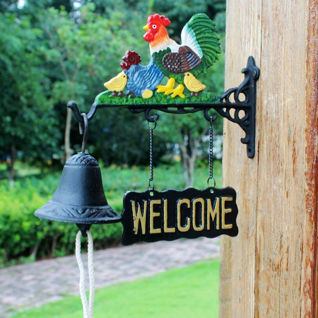 GLJJQMY Wrought Iron doorbell Double-Sided tag Welcomene Nordic Country Wrought Iron Hand Bell Wind Chime 24x10x27.5cm etro doorbell