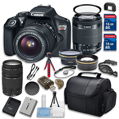 Canon EOS Rebel T6 18.0 MP Digital SLR Camera w/ EF-S 18-55mm f/3.5-5.6 IS II & Canon EF 75-300mm f/4-5.6 III Telephoto Zoom Lens Bundle w/ 15pc Accessory Kit - International Version