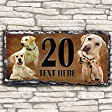 Custom Yellow Labrador Dog House Slate Personalised Pet Name Number Sign - 30cm x 15cm by Krafty Gifts