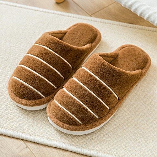 LaxBa Glisser sur lhiver au chaud en Fausse Fourrure Chaussons neige bordée Chaussures pour hommes brown42-43 (correspond à 40-41)