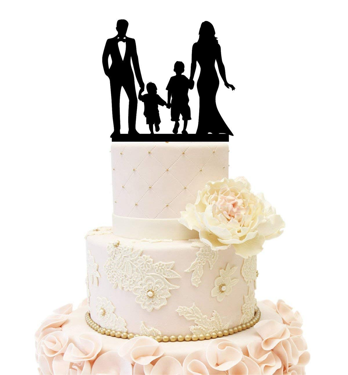 Wedding Anniverary Cake Topper couple with 2 kids (2 boy (Black))